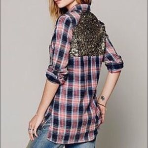Free People Red Plaid & Sparkle Button Down Shirt